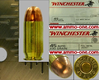 .45 Auto, Winchester, FMJ, One Cartridge