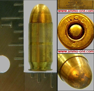 .45 Auto, Military, Western,1941, WW II, One Cartridge