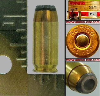 .45 Auto, Norma of Sweden, JHP, One Cartridge