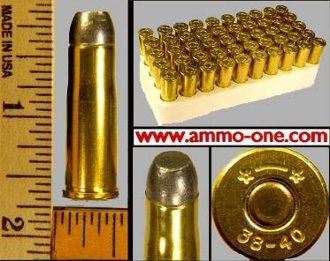 .38-40 Winchester, 180 grain lead, Box of 50 cartridges.