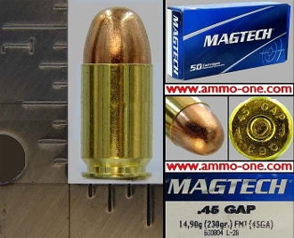 .45 GAP, Glock Auto Pistol, Magtech, Box of 50 Cartridges