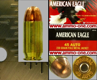 .45 Auto, Federal, New, FMJ, One Cartridge