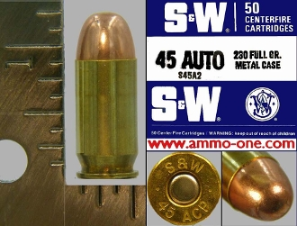 .45 Auto, Smith & Wesson, FMJ, One Cartridge