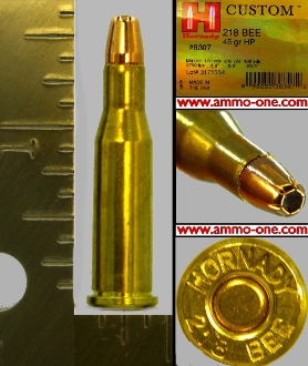.218 Bee by Hornady, JHP 1 Box of 25 Cartridges.