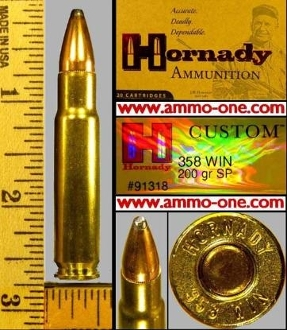 .358 Winchester by Hornady, JSP, One Box of 20 Cartridges