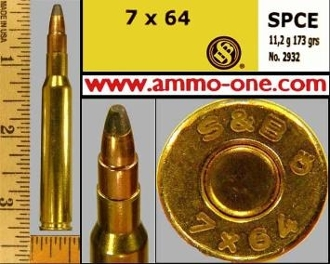 7x64mm Brenneke (Rimless) by S&B, JSP, Box of 20 cartridges