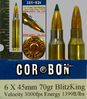 6x45mm for AR-15/M16 rifles by COR-BON, One Cartridge, not a box
