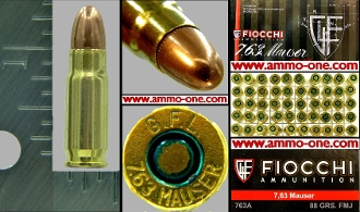 .30 Mauser or 7.63x25mm Mauser, Fiocchi, Box of 50, FMJ
