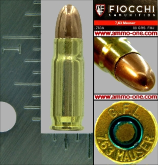 .30 Mauser, 7.63x25mm Mauser, Fiocchi FMJ, 1 Cartridge not a Box