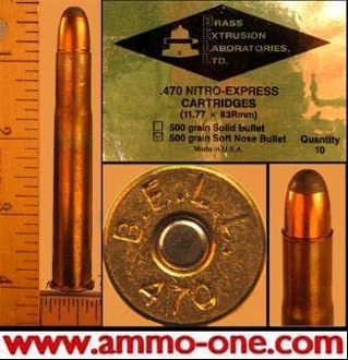 .470 Nitro Exp by BELL, JSP 1 Cartridge not a Box, *No returns