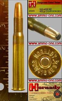 .500/.416 Nitro Express Hornady DGX, JSP, 1 Cartridge not a Box!
