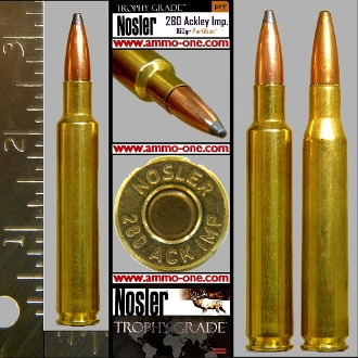 .280 Ackley Improved, Nosler, JSP, One Cartridge not a Box