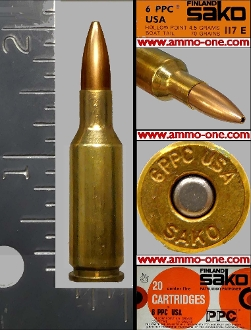 6mm PPC USA, by Sako, 70gr, JHP, One Cartridge , not a Box!