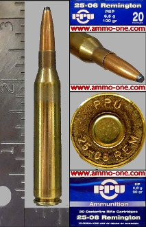 .25-06 Remington by PPU, 100 gr. JSP, One Cartridge not a Box!