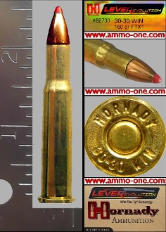 .30-30 Winchester Hornady, 160gr. FTX, One Cartridge not a Box