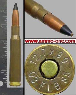 .50 BMG #8, AP, Argentina, 12.7x99 H/S, One Cartridge not a Box