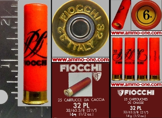 32 Ga. A, Fiocchi Red Plastic Case 6 Shot 1 Cartridge Not A Box
