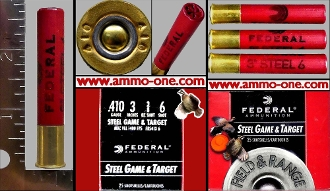 410 Ga. A, Federal Plastic #6 ST. Shot, One Cartridge not a Box