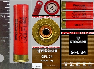 24 Ga. A, Fiocchi Red Plastic Case 8 Shot 1 Cartridge Not A Box