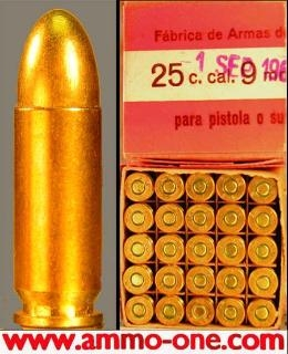 9mm Largo, Box of 25, Corrosive Primers, Spainish Military